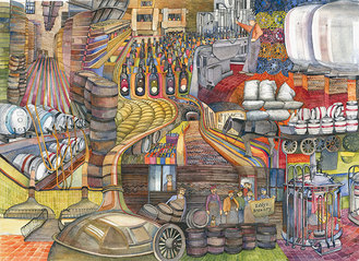 Kim Whittingham, collage montage of Old Cannon Brewery
